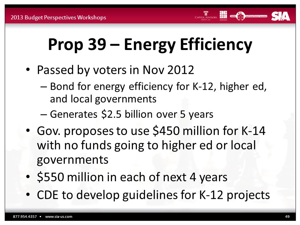 2013 Budget Perspectives Workshops Prop 39 – Energy Efficiency Passed by voters in Nov 2012 – Bond for energy efficiency for K-12, higher ed, and local governments – Generates $2.5 billion over 5 years Gov.