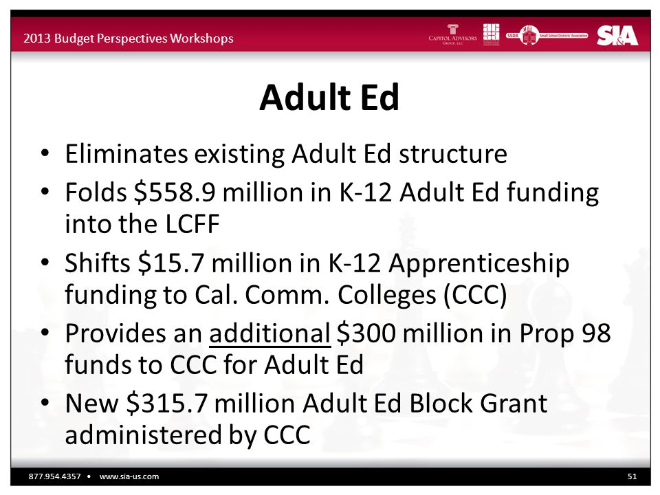 2013 Budget Perspectives Workshops Adult Ed Eliminates existing Adult Ed structure Folds $558.9 million in K-12 Adult Ed funding into the LCFF Shifts