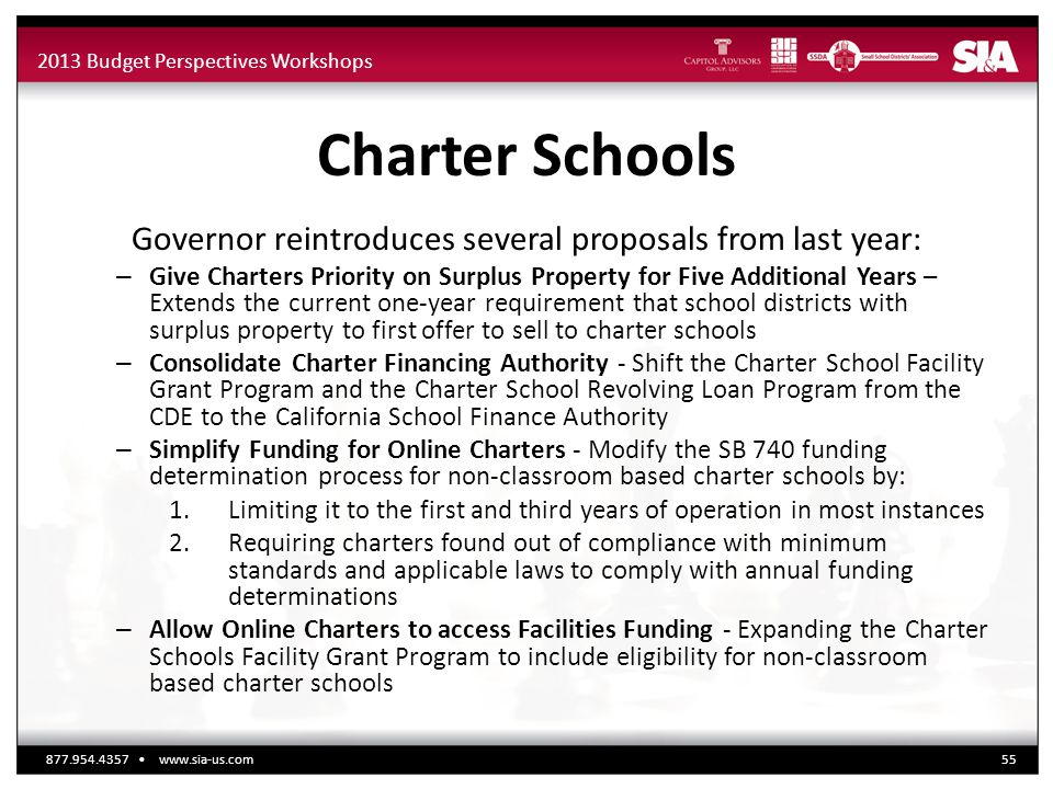 2013 Budget Perspectives Workshops Charter Schools Governor reintroduces several proposals from last year: – Give Charters Priority on Surplus Propert