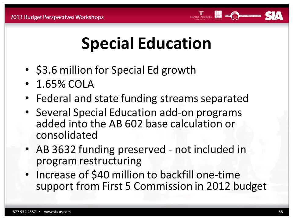 2013 Budget Perspectives Workshops Special Education $3.6 million for Special Ed growth 1.65% COLA Federal and state funding streams separated Several