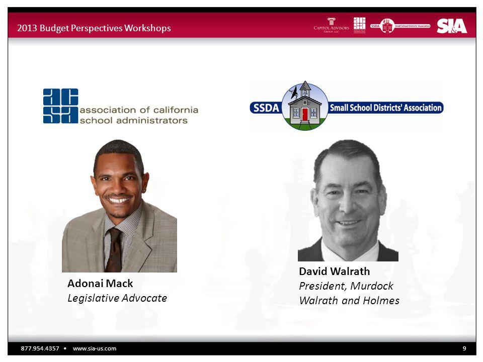 2013 Budget Perspectives Workshops Adonai Mack Legislative Advocate David Walrath President, Murdock Walrath and Holmes 877.954.4357 www.sia-us.com9