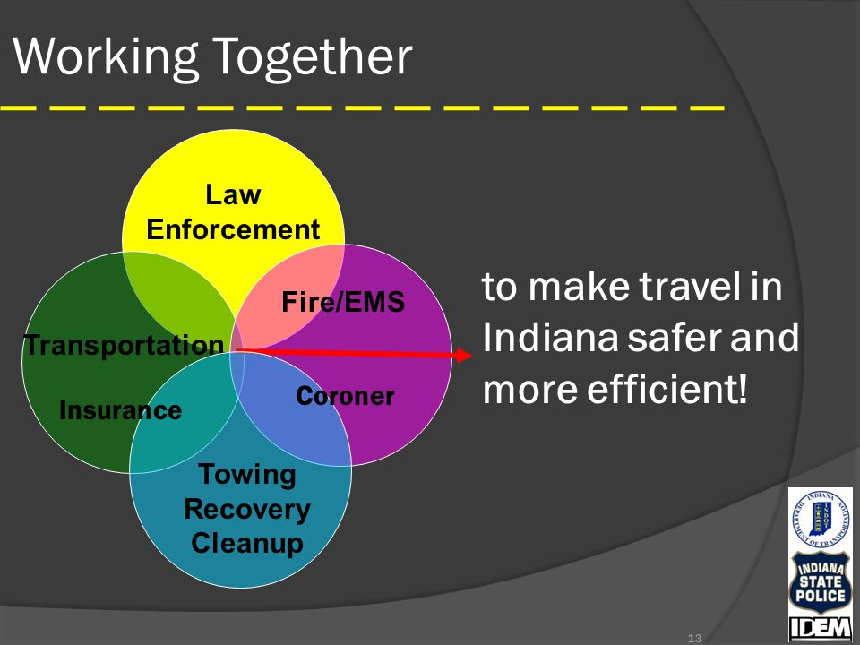 Working Together 13 to make travel in Indiana safer and more efficient.