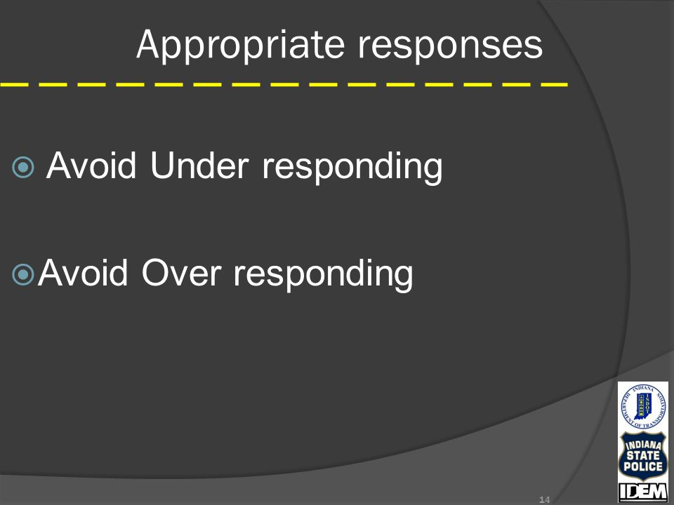 Appropriate responses  Avoid Under responding  Avoid Over responding 14