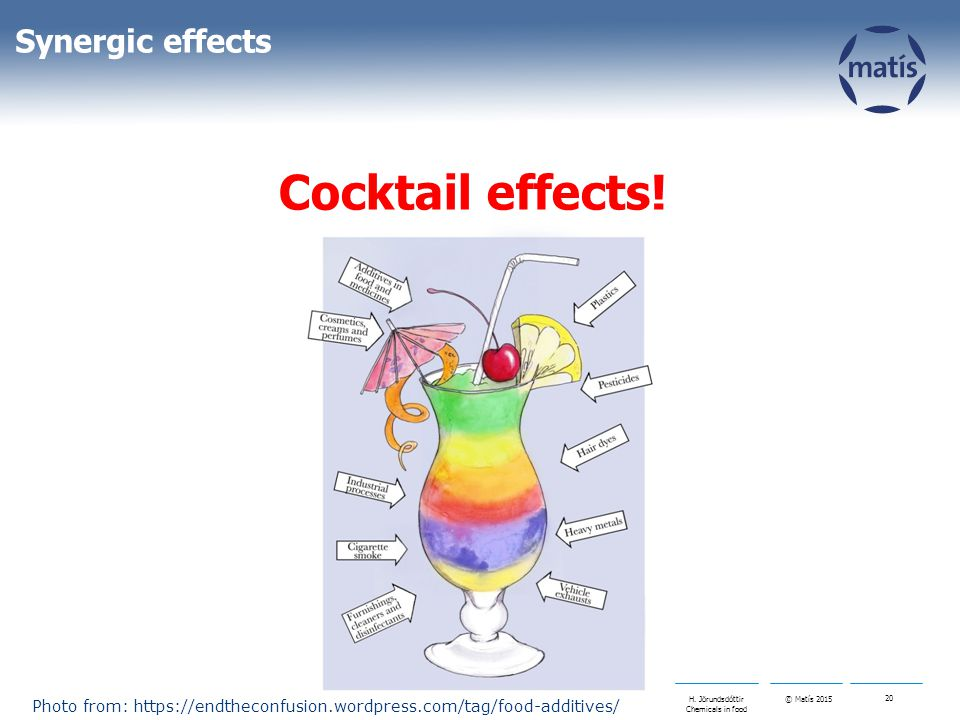 © Matís 2015 20 H. Jörundsdóttir Chemicals in food Synergic effects Cocktail effects! Photo from: https://endtheconfusion.wordpress.com/tag/food-addit