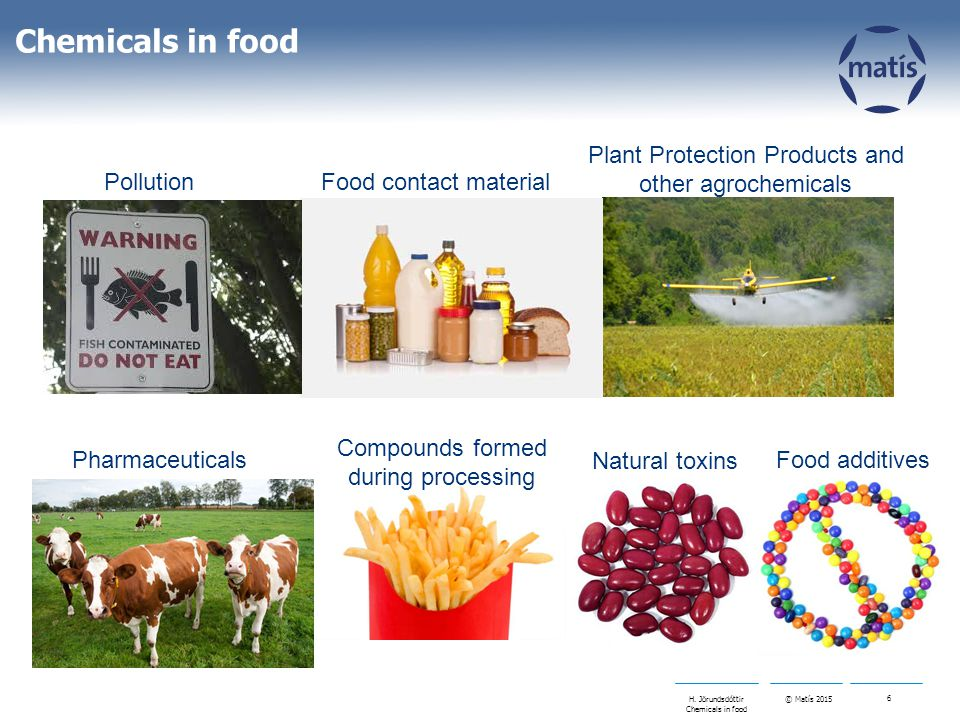 © Matís 2015 6 H. Jörundsdóttir Chemicals in food Pharmaceuticals Plant Protection Products and other agrochemicals Food contact material Compounds fo