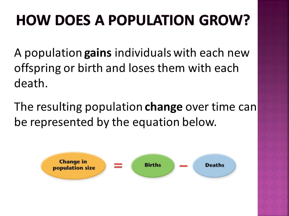 A population gains individuals with each new offspring or birth and loses them with each death. The resulting population change over time can be repre