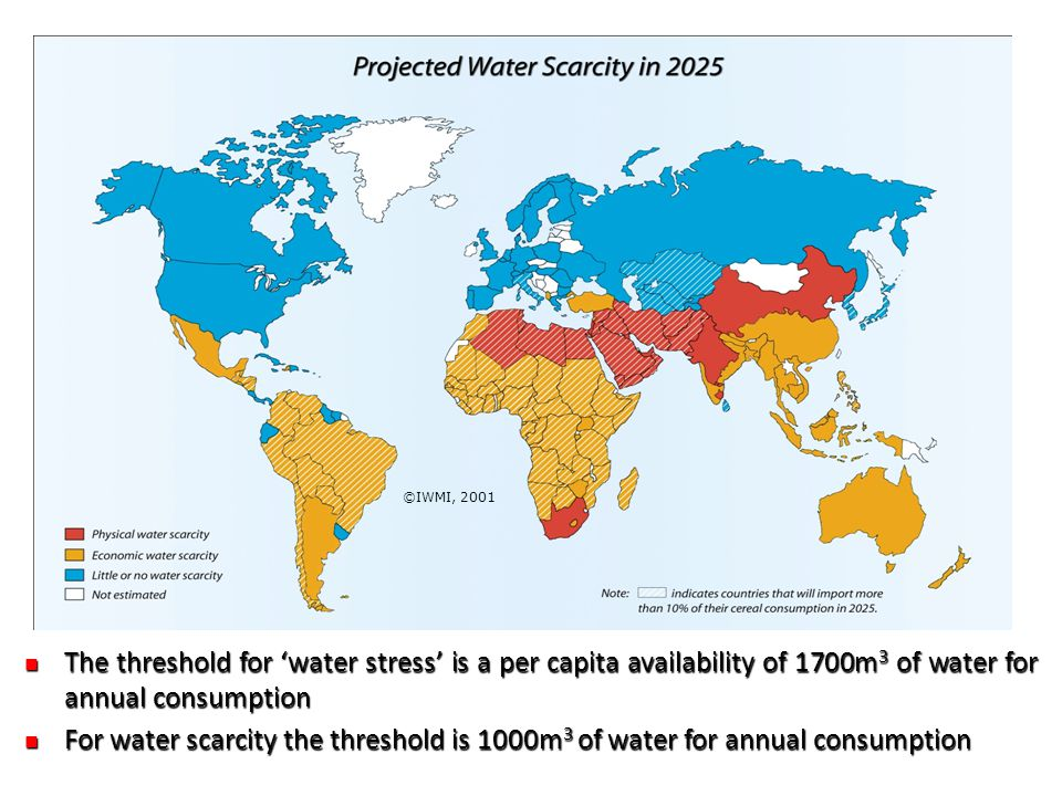 ©IWMI, 2001 The threshold for 'water stress' is a per capita availability of 1700m 3 of water for annual consumption The threshold for 'water stress' is a per capita availability of 1700m 3 of water for annual consumption For water scarcity the threshold is 1000m 3 of water for annual consumption For water scarcity the threshold is 1000m 3 of water for annual consumption