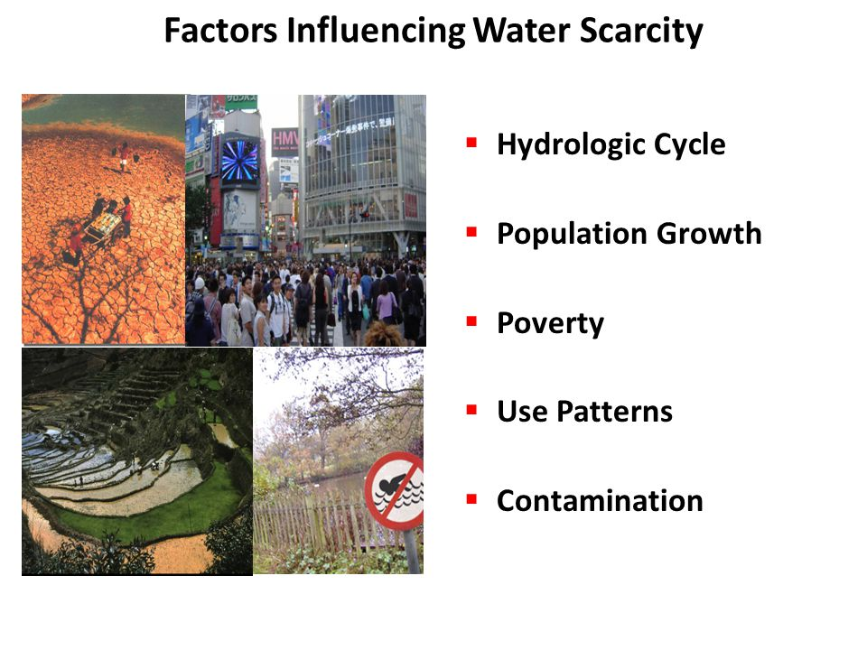 Factors Influencing Water Scarcity  Hydrologic Cycle  Population Growth  Poverty  Use Patterns  Contamination http://www.wmo.int
