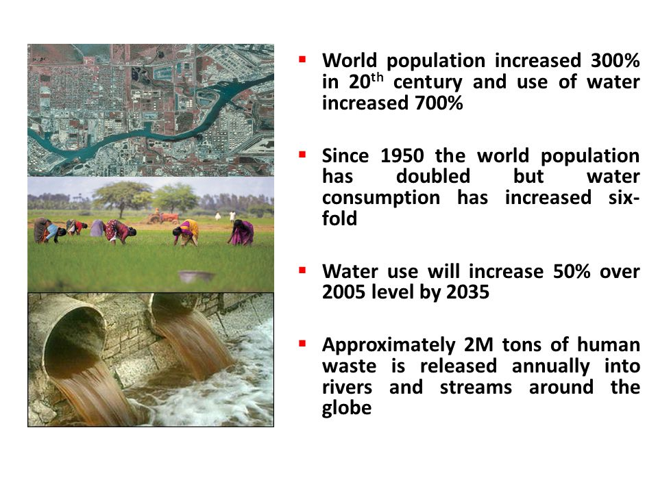  World population increased 300% in 20 th century and use of water increased 700%  Since 1950 the world population has doubled but water consumption has increased six- fold  Water use will increase 50% over 2005 level by 2035  Approximately 2M tons of human waste is released annually into rivers and streams around the globe