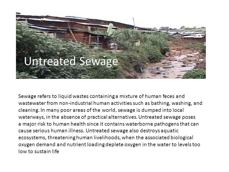 Sewage refers to liquid wastes containing a mixture of human feces and wastewater from non-industrial human activities such as bathing, washing, and cleaning.