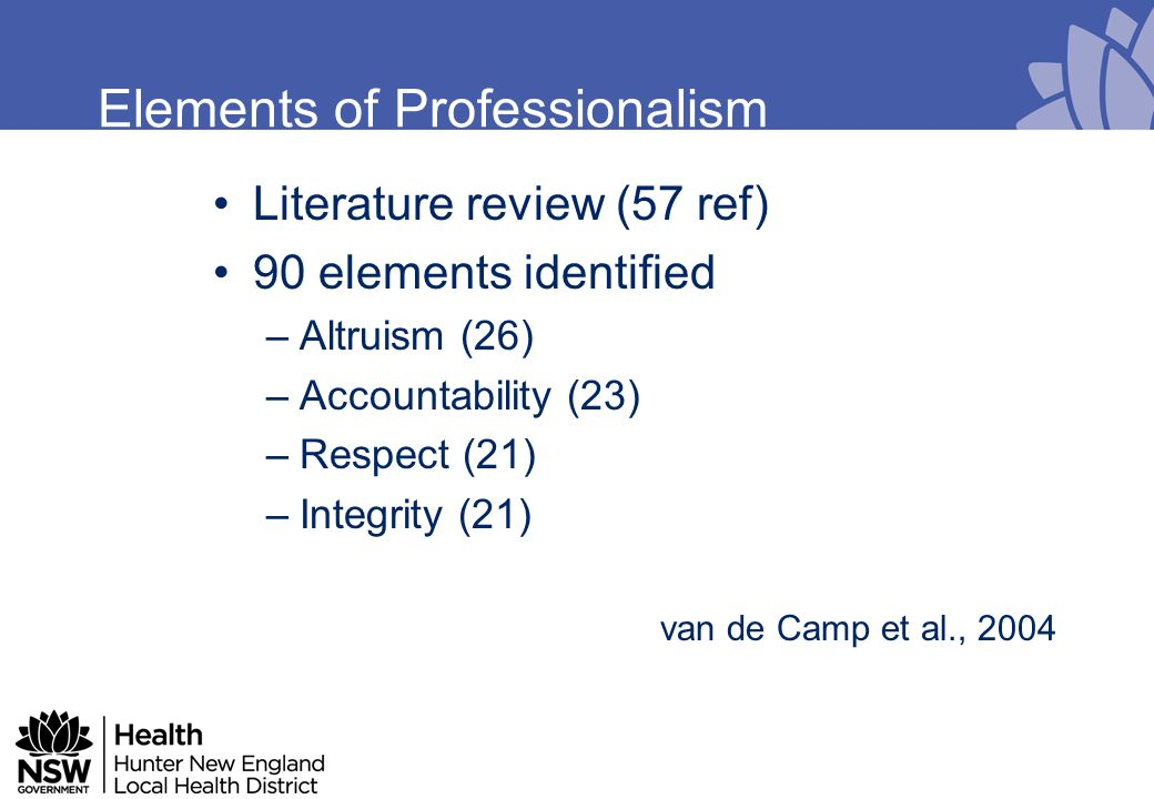 Elements of Professionalism –Technical Competence (1) –Willingness to admit errors (1) –Ask for help when necessary (1) –Dress Code (0) Conclusion Professionalism is surrounded by ambiguity and a generally accepted definition is lacking –van de Camp et al., 2004