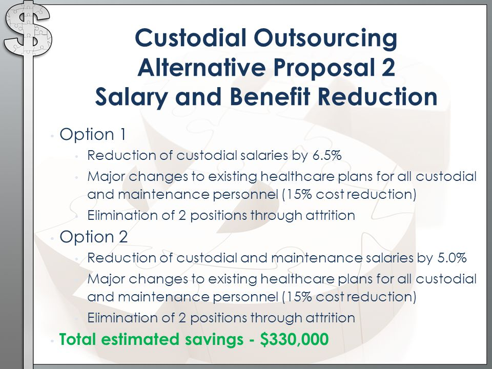Option 1 Reduction of custodial salaries by 6.5% Major changes to existing healthcare plans for all custodial and maintenance personnel (15% cost reduction) Elimination of 2 positions through attrition Option 2 Reduction of custodial and maintenance salaries by 5.0% Major changes to existing healthcare plans for all custodial and maintenance personnel (15% cost reduction) Elimination of 2 positions through attrition Total estimated savings - $330,000 Custodial Outsourcing Alternative Proposal 2 Salary and Benefit Reduction