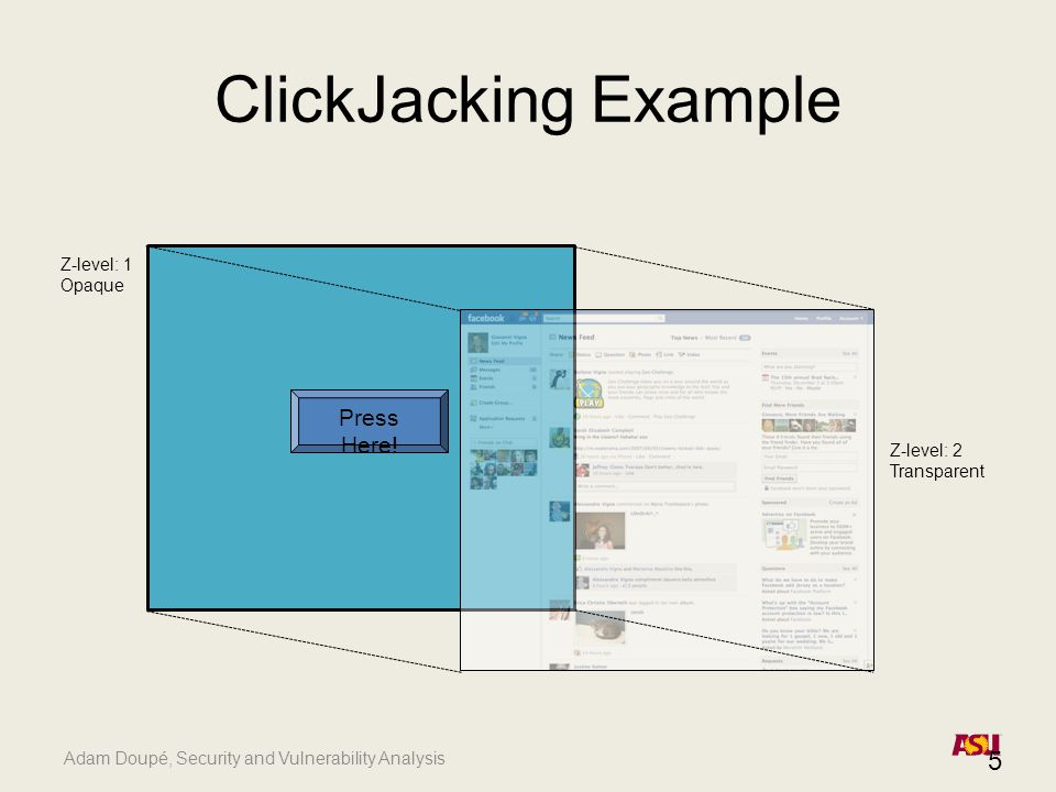 Adam Doupé, Security and Vulnerability Analysis ClickJacking Example 5 Press Here.