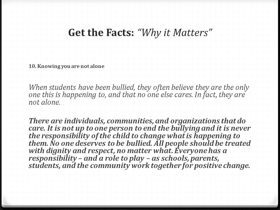 Get the Facts: Why it Matters 10.