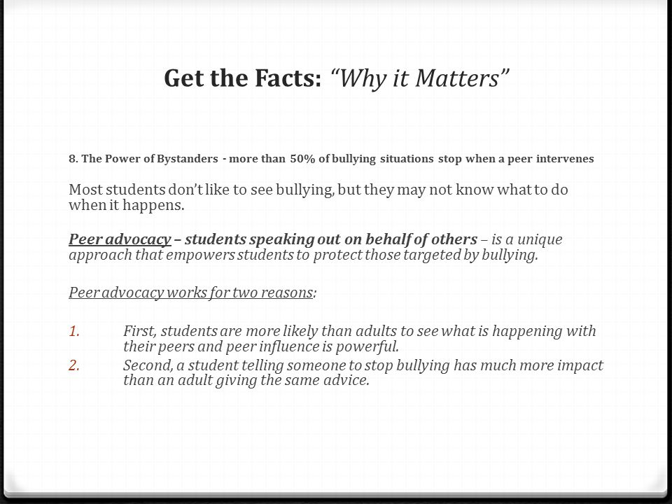 Get the Facts: Why it Matters 8.