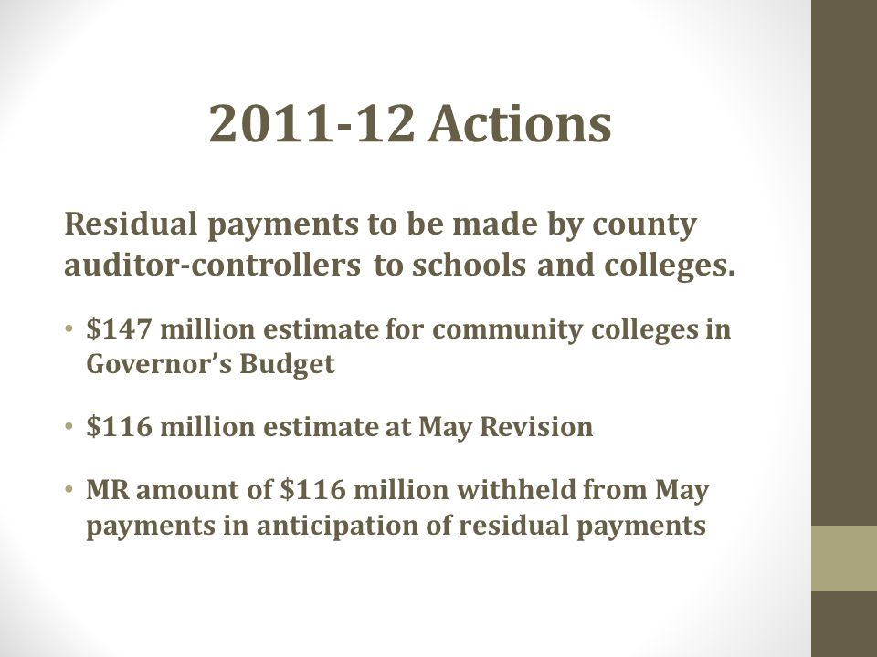 2011-12 Actions Residual payments to be made by county auditor-controllers to schools and colleges.