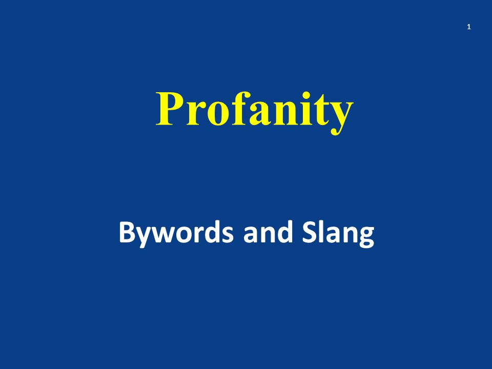 Profanity Bywords and Slang 1