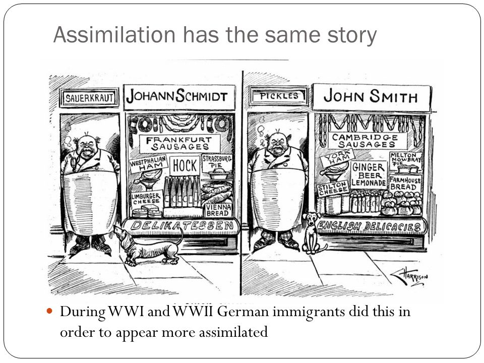 Assimilation has the same story During WWI and WWII German immigrants did this in order to appear more assimilated