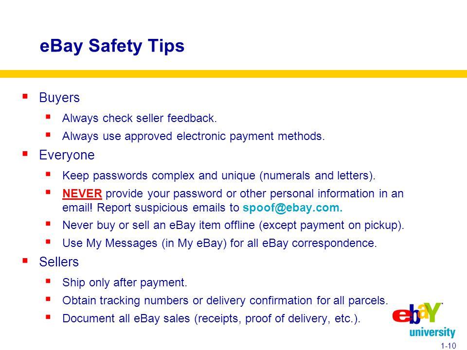 eBay Safety Tips  Buyers  Always check seller feedback.