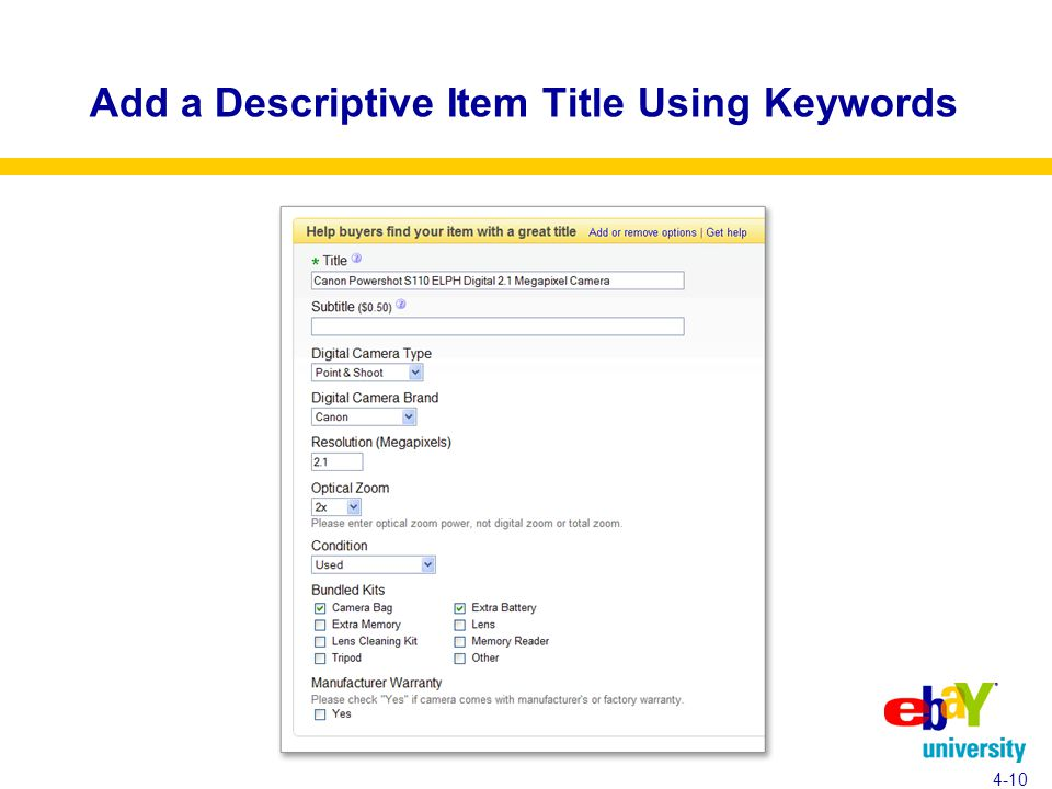 Add a Descriptive Item Title Using Keywords 4-10