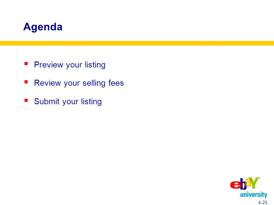 Agenda  Preview your listing  Review your selling fees  Submit your listing 4-25