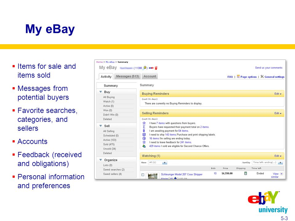 My eBay 5-3  Items for sale and items sold  Messages from potential buyers  Favorite searches, categories, and sellers  Accounts  Feedback (received and obligations)  Personal information and preferences