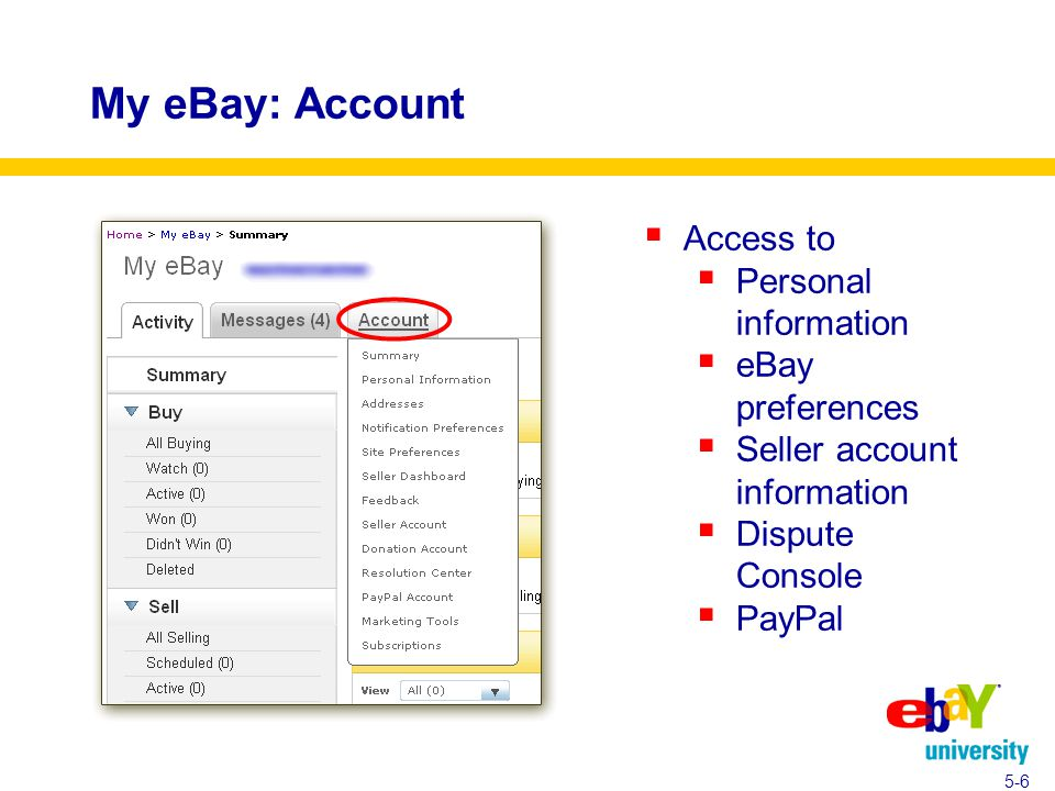 My eBay: Account  Access to  Personal information  eBay preferences  Seller account information  Dispute Console  PayPal 5-6
