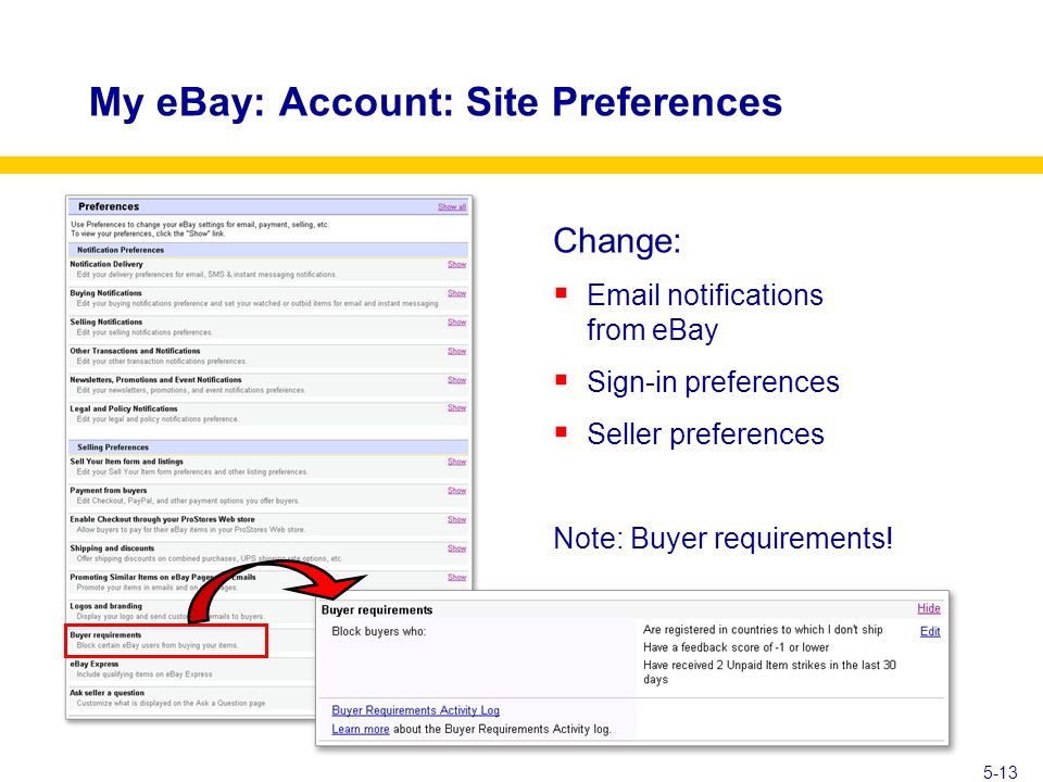 My eBay: Account: Site Preferences Change:  Email notifications from eBay  Sign-in preferences  Seller preferences Note: Buyer requirements.