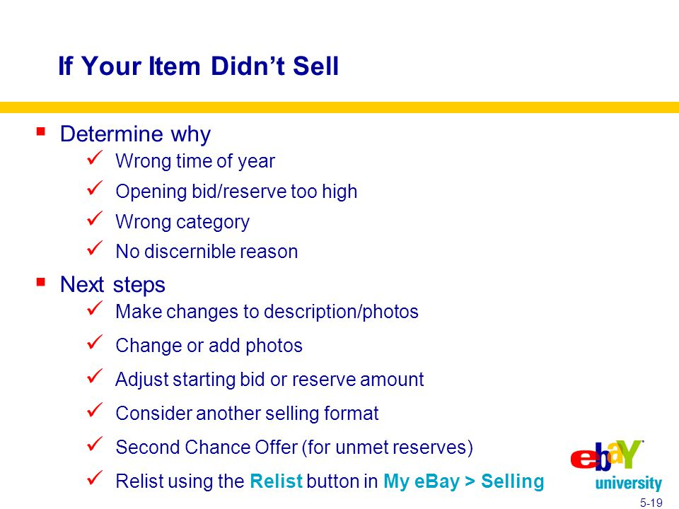 If Your Item Didn't Sell  Determine why Wrong time of year Opening bid/reserve too high Wrong category No discernible reason  Next steps Make changes to description/photos Change or add photos Adjust starting bid or reserve amount Consider another selling format Second Chance Offer (for unmet reserves) Relist using the Relist button in My eBay > Selling 5-19