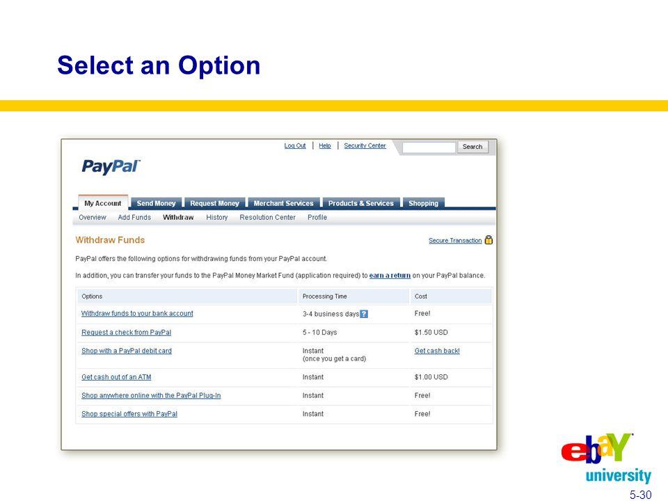 Select an Option 5-30