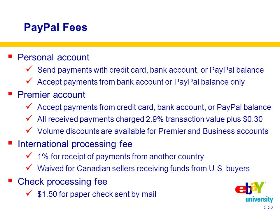 PayPal Fees  Personal account Send payments with credit card, bank account, or PayPal balance Accept payments from bank account or PayPal balance only  Premier account Accept payments from credit card, bank account, or PayPal balance All received payments charged 2.9% transaction value plus $0.30 Volume discounts are available for Premier and Business accounts  International processing fee 1% for receipt of payments from another country Waived for Canadian sellers receiving funds from U.S.