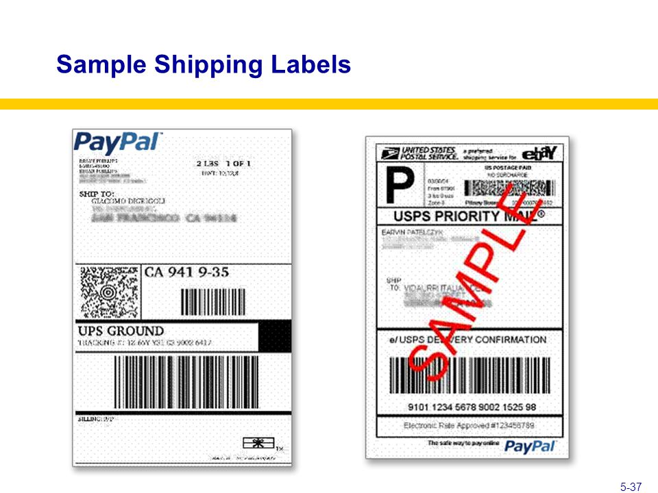 5-37 Sample Shipping Labels