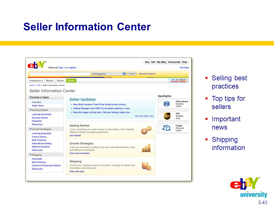 Seller Information Center  Selling best practices  Top tips for sellers  Important news  Shipping information 5-43
