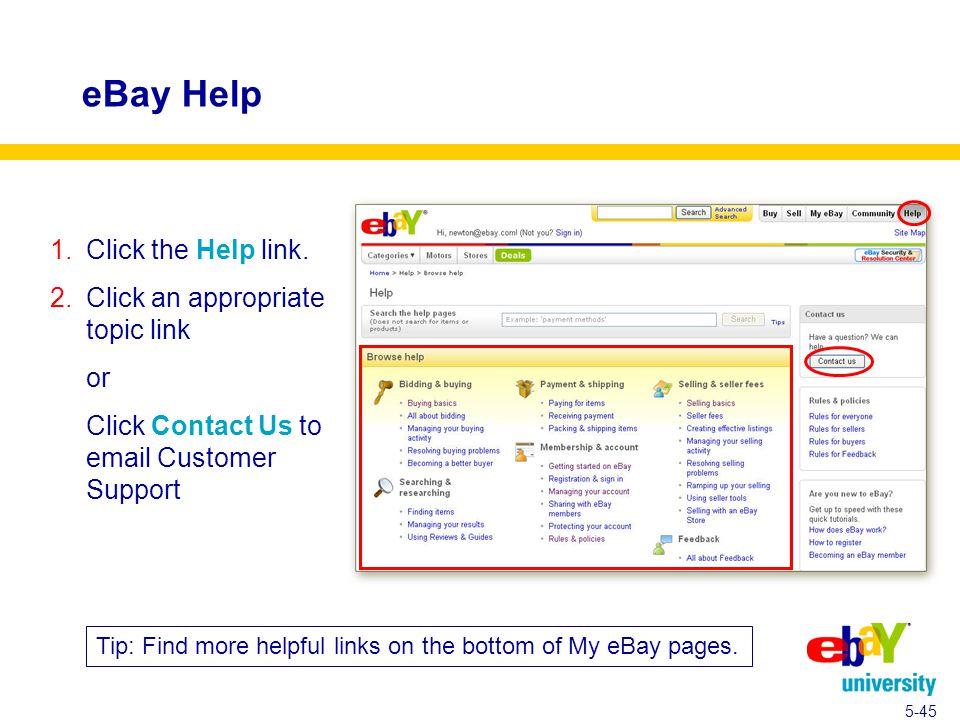 eBay Help 1.Click the Help link.