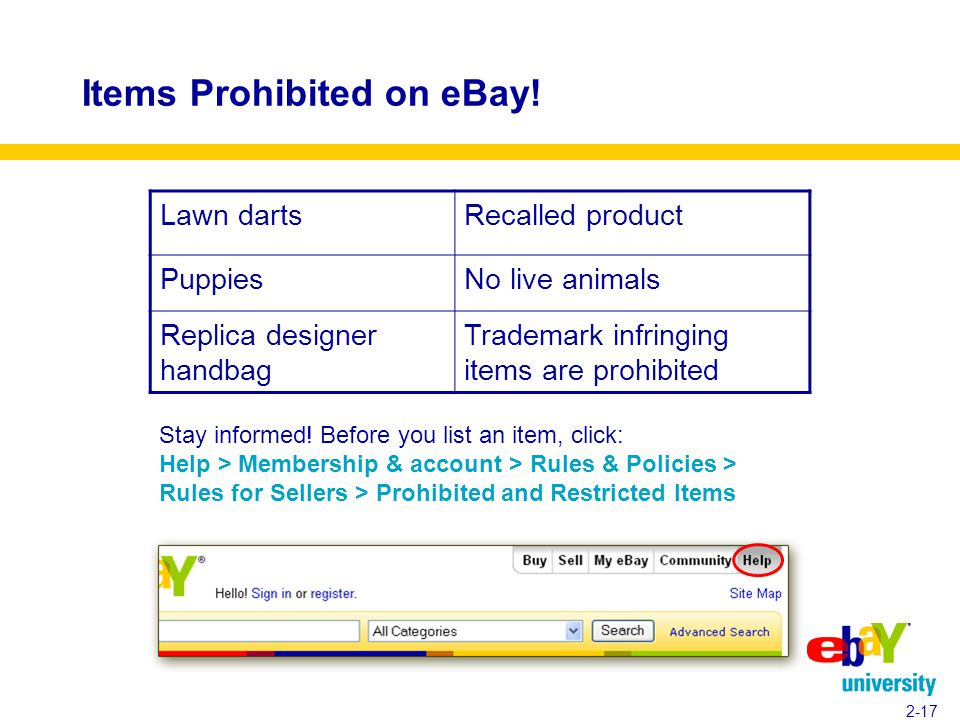 Items Prohibited on eBay. 2-17 Stay informed.