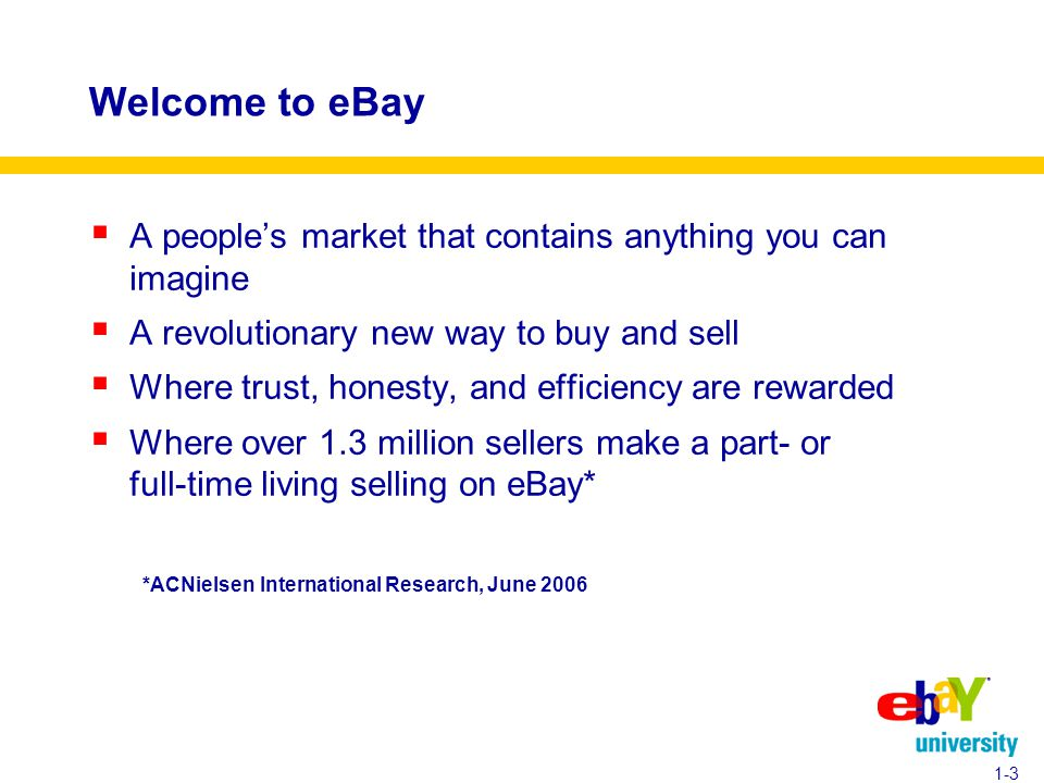 Welcome to eBay  A people's market that contains anything you can imagine  A revolutionary new way to buy and sell  Where trust, honesty, and efficiency are rewarded  Where over 1.3 million sellers make a part- or full-time living selling on eBay* *ACNielsen International Research, June 2006 1-3