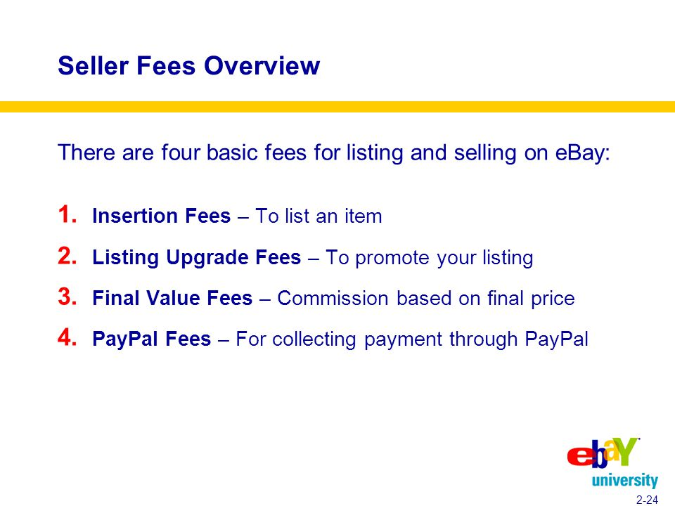 Seller Fees Overview There are four basic fees for listing and selling on eBay: 1.