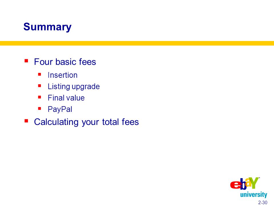 Summary  Four basic fees  Insertion  Listing upgrade  Final value  PayPal  Calculating your total fees 2-30