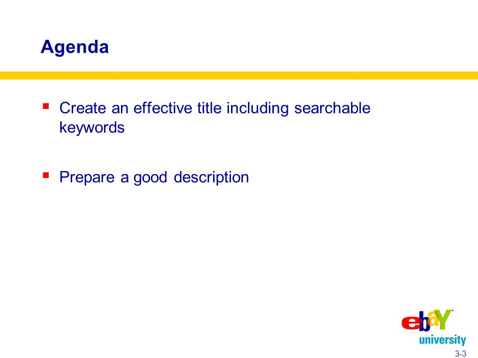 Agenda  Create an effective title including searchable keywords  Prepare a good description 3-3
