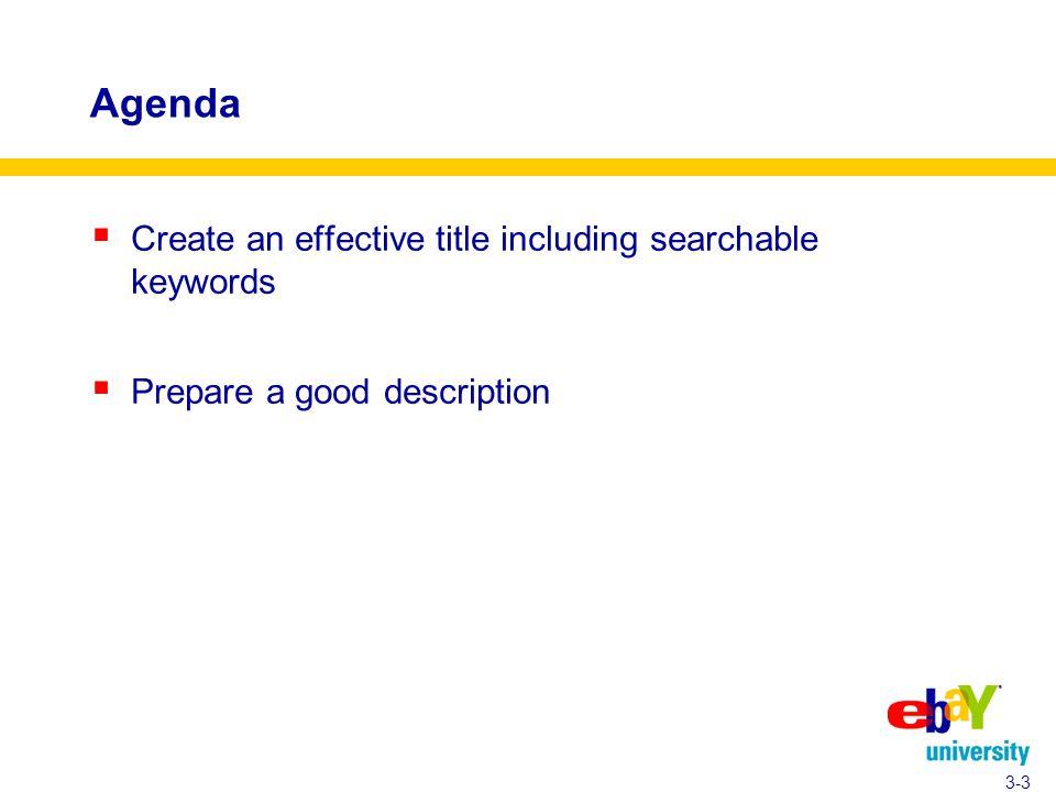 Agenda  Create an effective title including searchable keywords  Prepare a good description 3-3