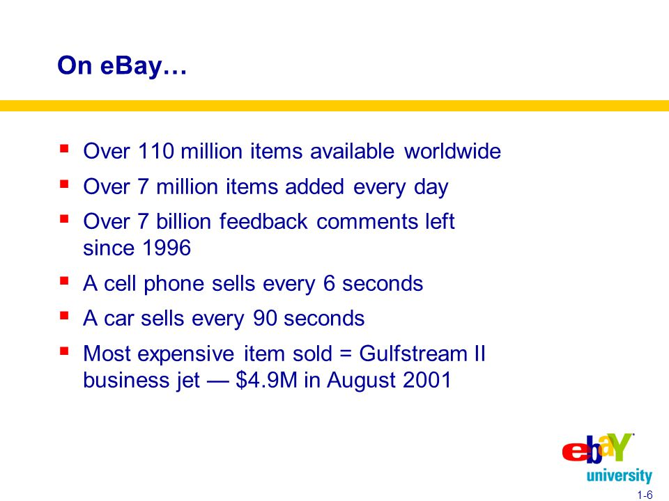 On eBay…  Over 110 million items available worldwide  Over 7 million items added every day  Over 7 billion feedback comments left since 1996  A cell phone sells every 6 seconds  A car sells every 90 seconds  Most expensive item sold = Gulfstream II business jet — $4.9M in August 2001 1-6