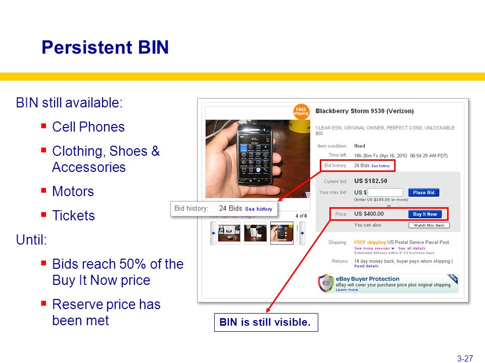 Persistent BIN 3-27 BIN still available:  Cell Phones  Clothing, Shoes & Accessories  Motors  Tickets Until:  Bids reach 50% of the Buy It Now price  Reserve price has been met BIN is still visible.