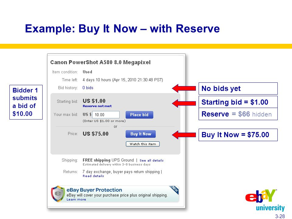 Example: Buy It Now – with Reserve 3-28 Bidder 1 submits a bid of $10.00 Starting bid = $1.00 Reserve = $66 hidden No bids yet Buy It Now = $75.00 10.00