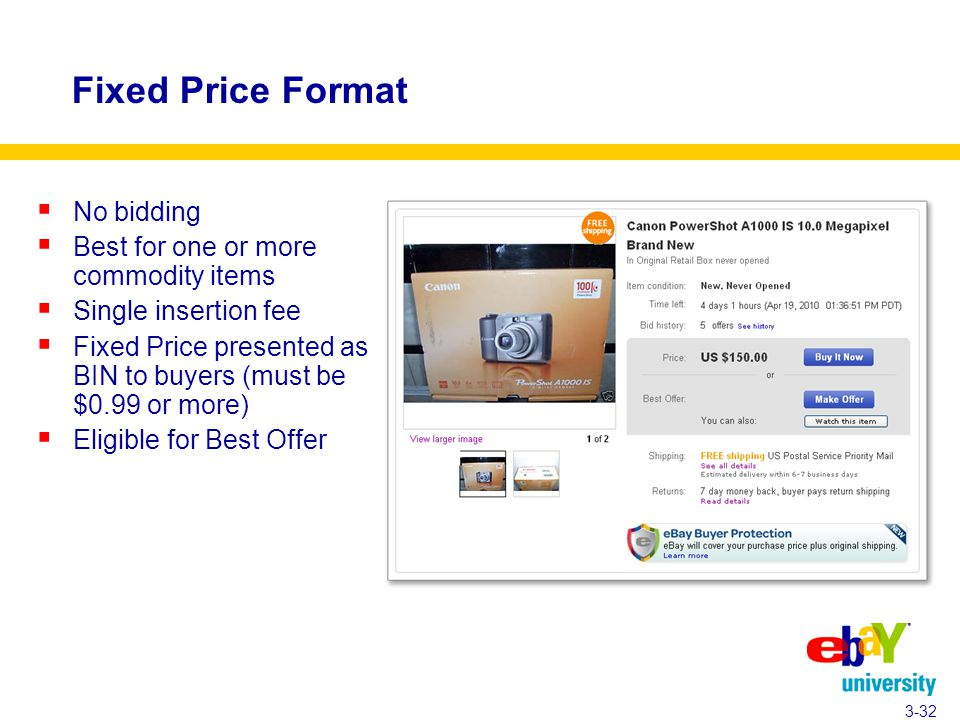 Fixed Price Format  No bidding  Best for one or more commodity items  Single insertion fee  Fixed Price presented as BIN to buyers (must be $0.99 or more)  Eligible for Best Offer 3-32
