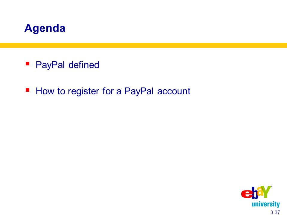 Agenda  PayPal defined  How to register for a PayPal account 3-37