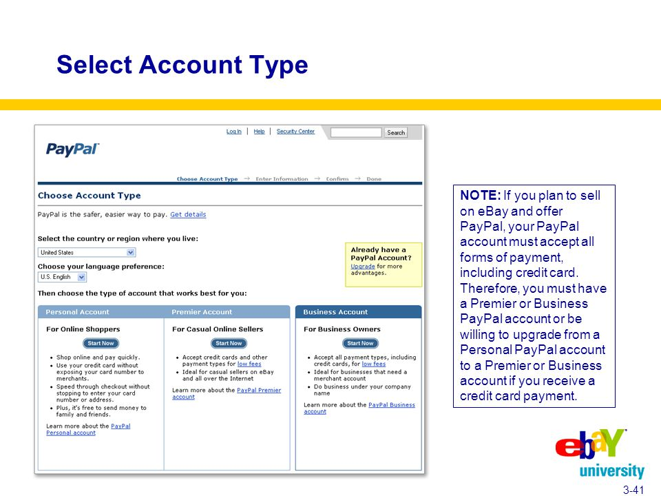 Select Account Type 3-41 NOTE: If you plan to sell on eBay and offer PayPal, your PayPal account must accept all forms of payment, including credit card.