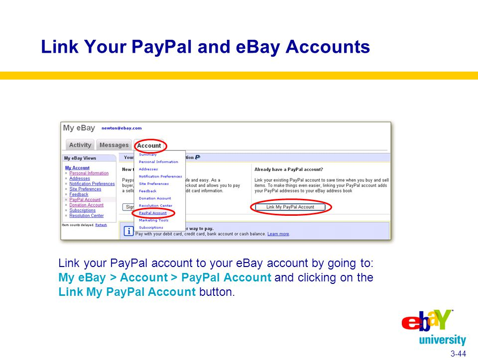 Link Your PayPal and eBay Accounts 3-44 Link your PayPal account to your eBay account by going to: My eBay > Account > PayPal Account and clicking on the Link My PayPal Account button.