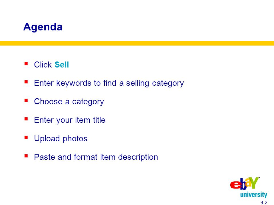 Agenda  Click Sell  Enter keywords to find a selling category  Choose a category  Enter your item title  Upload photos  Paste and format item description 4-2