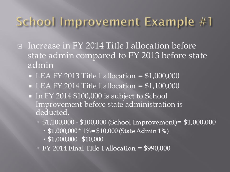  Increase in FY 2014 Title I allocation before state admin compared to FY 2013 before state admin  LEA FY 2013 Title I allocation = $1,000,000  LEA