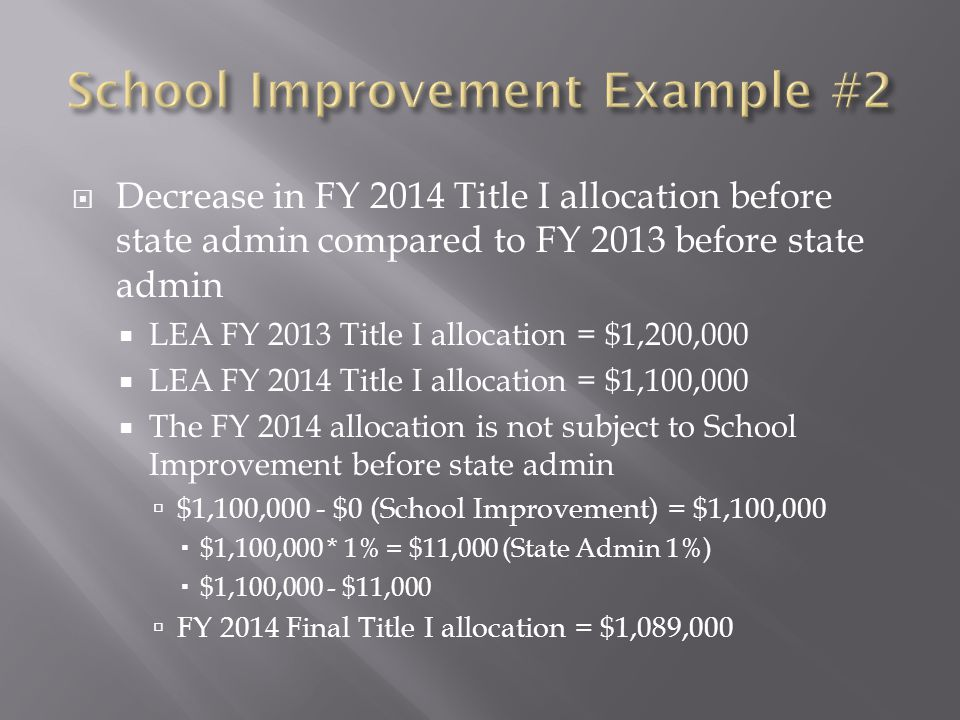  Decrease in FY 2014 Title I allocation before state admin compared to FY 2013 before state admin  LEA FY 2013 Title I allocation = $1,200,000  LEA